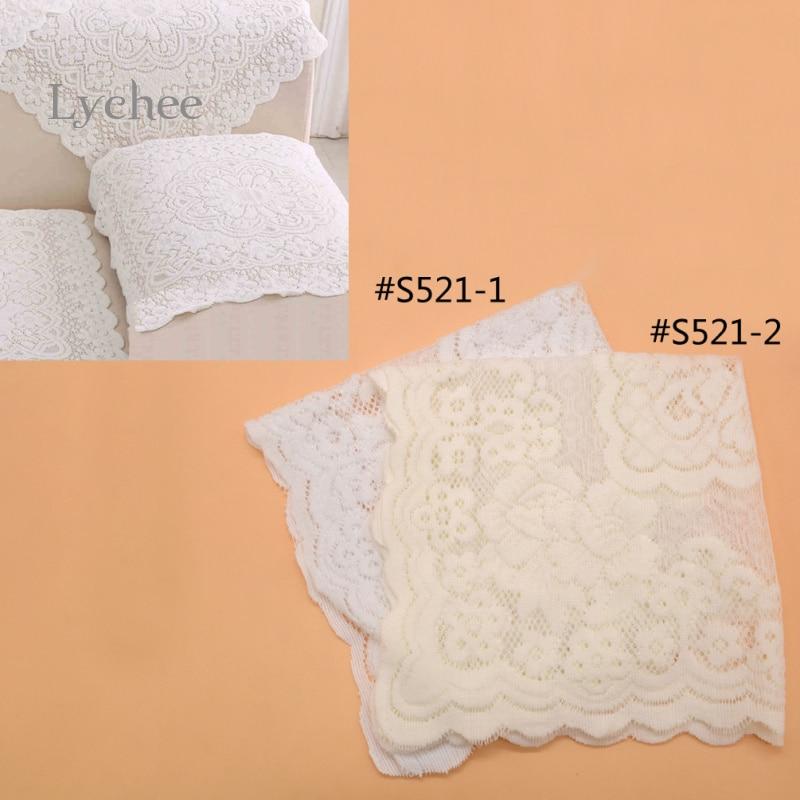 Lychee 1 Piece White Beige Peony Pattern Lace Table Mats Pads Sofa Mat