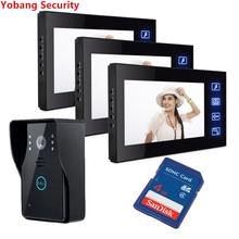 Yobang Security freeship 7″ Video Intercom Door Phone 3 Monitors Door Bell Camera for 3 House Apartment and Video camera