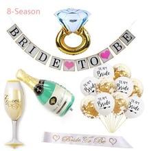 8-Season Bride Party Decorations Kit Bachelorette Decoration Shiny Banner For Wedding Rehearsal Engagement Backdrop