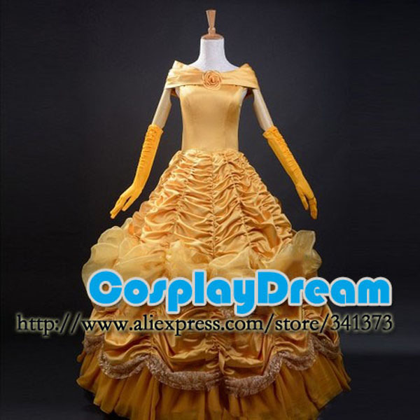 Beauty and the Beast Princess Belle Cosplay Costume Party Dress for Women Custom Made Halloween Costume