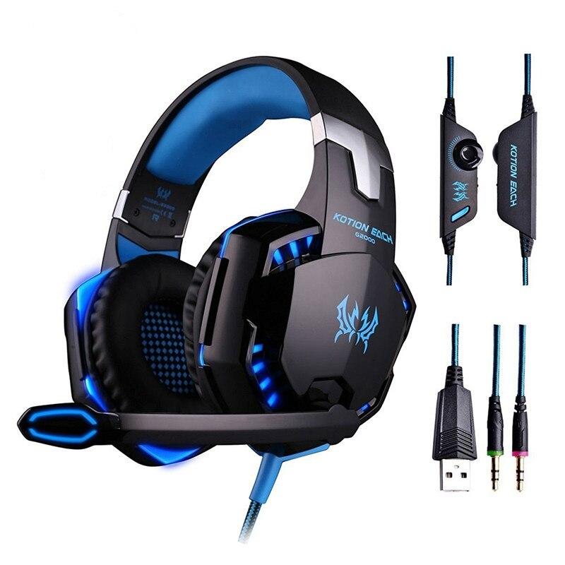 Auriculares Gaming Kotion cada G2000 estéreo juego cesque auriculares con micrófono de luz LED para computadora PC Gamer fone de ouvido