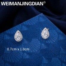 WEIMANJINGDIAN Halo Teardrop Zirkonia CZ Zirkon Kristall Stud Ohrringe für Frauen Mädchen Braut oder Brautjungfer