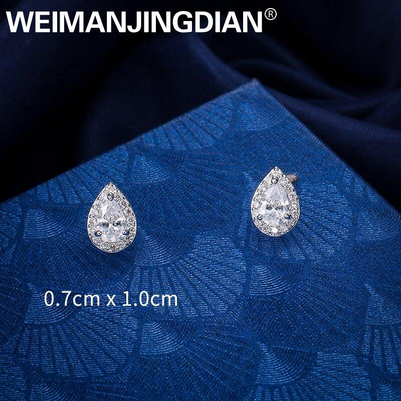 WEIMANJINGDIAN Neue Ankunft Funkelnden Zirkonia CZ Zirkon Kristall Peardrop Stud Ohrringe für Frauen oder Mädchen