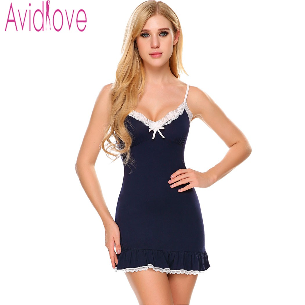 Avidlove Women Sexy Sleep Chemise V Neck Lace-trimmed Neckline Nightwear Front Bow Decor Ruffle Hem Sleepwear Plus Size
