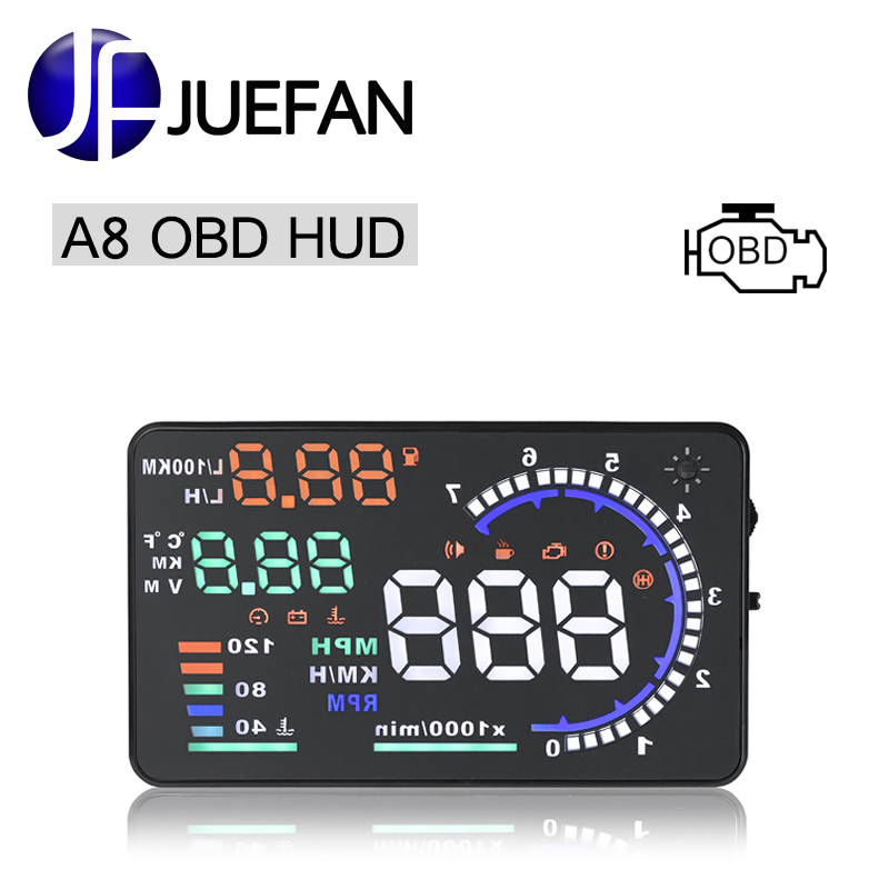 все цены на JUEFAN A8 car hud auto diagnostic scanner car head up display Car detector speed projector on windshield HUD display with OBD2