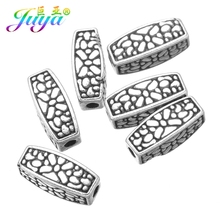 Juya 5mm Metal Charm Beads Antique Silver Color End Beads Accessories For Women Classical DIY Craft Jewelry Making