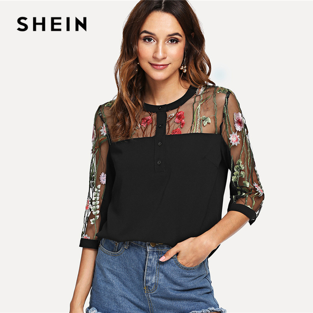 c43d70ba54 SHEIN Black Elegant Highstreet Workwear Embroidered Contrast Mesh Button  Front Round Neck Blouse Summer Women Casual