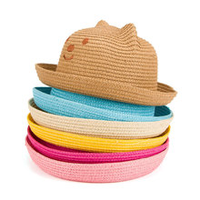 Fashion New Children Hat Korean Version Of The bear straw hat baby Shade Straw Baby Basin Cap Boys Girls