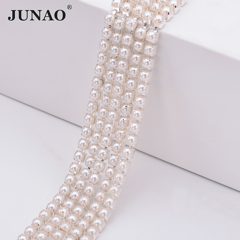 JUNAO 2mm 3mm 4mm White Pearl Chain Rhinestone Ribbon Trim Bridal Pearl Appliques Sewing Silver Gold Strass Banding DIY Crafts