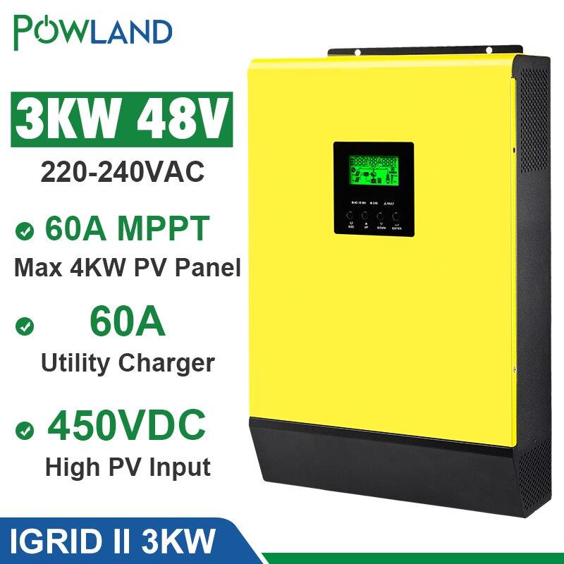 Hybrid Solar inverter 3000W 48V 220V High PV Input 450Vdc MPPT Solar Charger 60A Battery Charger