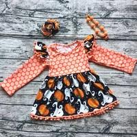 2017 new baby girl pom dynia halloween sukienki dla dzieci dzieci sukienka z pasującymi łuk i naszyjnik dzieci halloween stroje zestawy