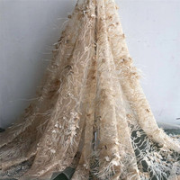 5yards 3D lace fabric with Ostrich feather, nude heavy bead lace fabric for haute couture dress F58 3