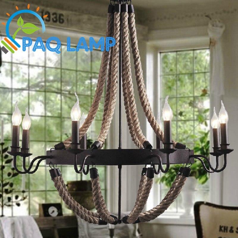 Vintage rétro lustre LED lampe éclairage intérieur Chanvre corde bougie salon café boutique bar plafond décoratif luminaire