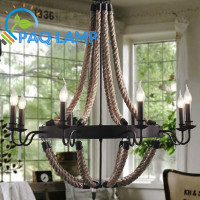 Vintage retro chandelier LED lamp indoor lighting Hemp rope candle sitting room coffee shop bar ceiling decorative light fixture