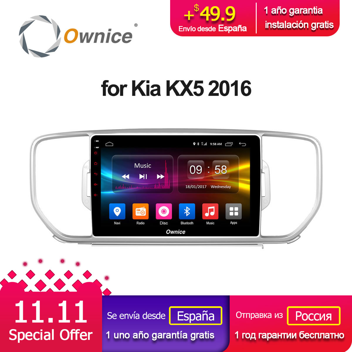 Ownice C500+ G10 Android 8.1 eight Core For KIA Sportage KX5 2016 Car Radio Navi GPS player 2GB RAM 32GB ROM Support 4G DVD ownice c500 octa 8 core android 6 0 2din 8 1024 600 car dvd for kia new ceed wifi radio gps 2gb ram 32gb rom support 4g dab