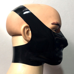 Image 2 - Latex Mask Cosplay Latex Rubber Gummi Cross Mouth covering Mask customized catsuit cool 0.4mm