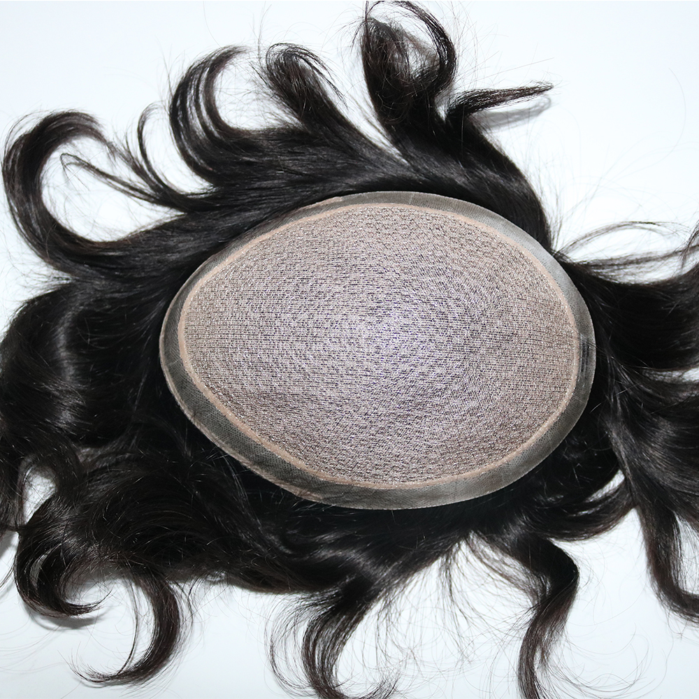 Eversilky Off Black Silk Base Human Hair Toupees Hand Tied Hairpieces Hair Replacement with Natural lookging