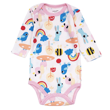2019 Newborn Baby Girl Clothes Cartoon Animal 100% Cotton Jumpsuit Long Sleeve Pink rainbow Bodysuits