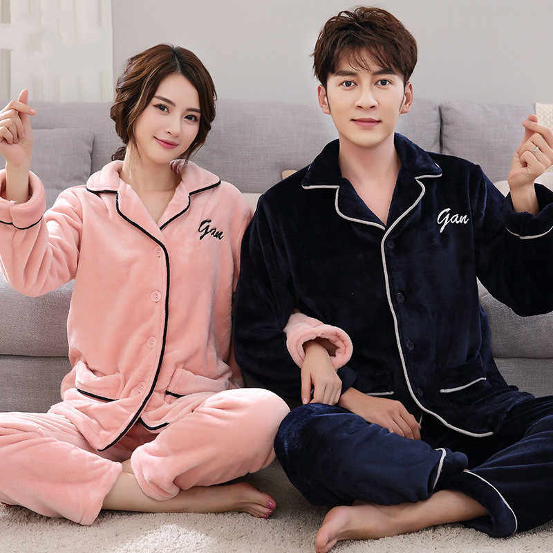 63d18e1b6 Detail Feedback Questions about Couples Matching Thicken Coral Fleece Warm  Homewear Winter Mens Long Pajamas Cute Carton Letters Print Women Sleep Set  pink ...