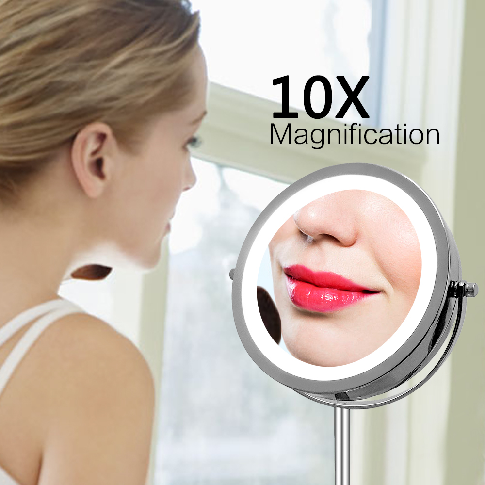 Professional LED Light Brightness Adjustable Makeup Mirror 7 Inch Cosmetic Mirror Double Sided 1 10x Magnifying