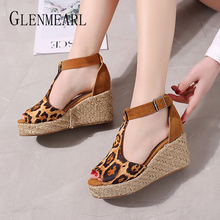 купить Women Sandals Summer Shoes Peep Toe Casual Straw Wedges Sandals Woman Brand Ladies Party Leopard Shoes New Arrival Plus Size DE по цене 1069.14 рублей