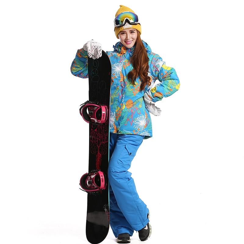 Prix pour 2016 Femmes Étanche Snowboard Veste Ski Pantalon Mujer Hiver En Plein Air de Neige Impression combinaison de Ski D'hiver Ski Veste Femmes