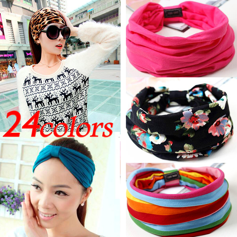 24 colors Candy colored sports elastic Hairband Fashion Fabric Wide headband For Women Hair accessoires Floral