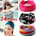 24 cores Candy-colored esportes Tecido Ampla faixa de cabeça Para As Mulheres acessórios de Cabelo elastic Hairband Moda Floral Impressão Turbante 1 pcs