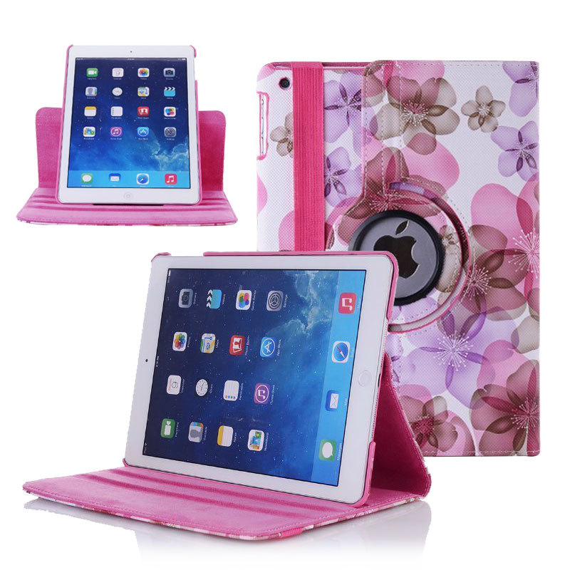 2015 New Arrival Flip Tablet Case For Apple iPad 5 iPad Air 360 Rotating Smart Stand Leather Cover For iPad5 iPad Air Case Shell