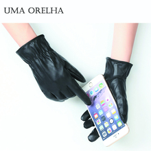 UMA ORELHA Women Gloves Touch Screen Thick Winter Mittens Keep Warm Thermal Driving Gloves Autumn Men Unisex Black Leather Glove