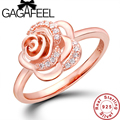 New Arrival Luxury wedding rings for women Rose design ring Real Pure 925 sterling silver ring  rose gold plated rings WR002