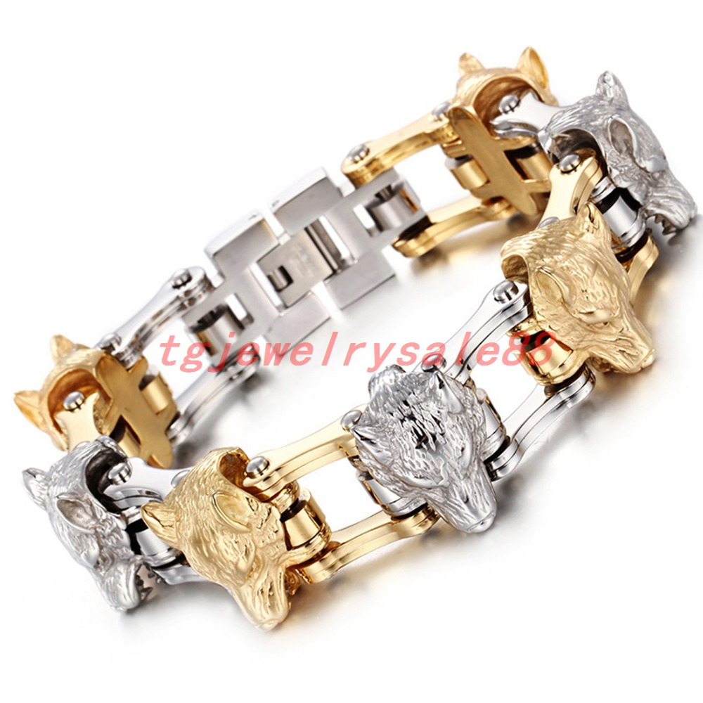 21mm Wide Motorcycle Link Chain Bracelet Jewelry 8.26 Silver Gold Color Fashion Wolf Heads For Strong Mens Xmas Gift 156g