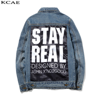 New Arrival Spring High Quality Long Sleeve Hole Denim Jacket Cotton Mens Fashion Printing Size M