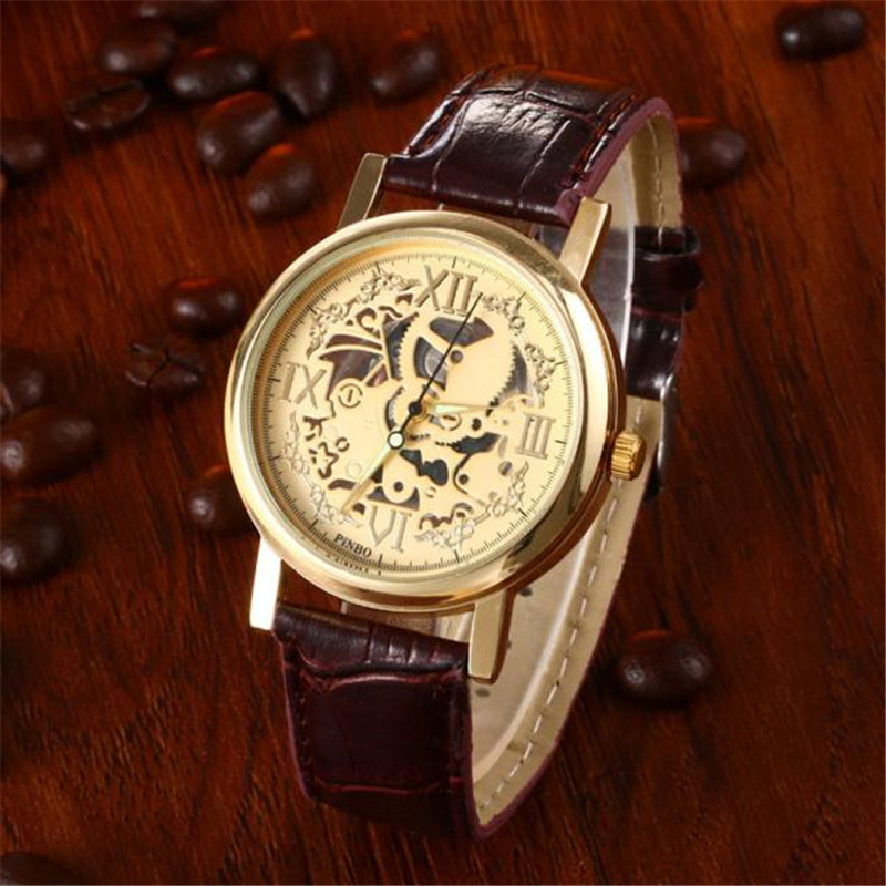 Men Watch Drop Shipping Relogio Masculino Gift Skeleton Brown Leather Band Quartz Stainless Steel Gold Wrist July4 watch men gift drop shipping clock retro design leather band analog alloy quartz wrist relogio masculino reloj hombres june21