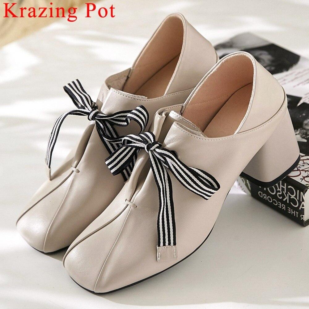 Design Original à lacets rayés mode style britannique talons épais med usure quotidienne pompes bout carré chaussures en cuir véritable L8f1-in Escarpins femme from Chaussures    1