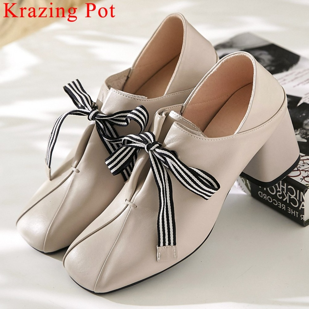 Original design striped lace up fashion British style thick med heels daily wear pumps square toe genuine leather shoes L8f1Original design striped lace up fashion British style thick med heels daily wear pumps square toe genuine leather shoes L8f1
