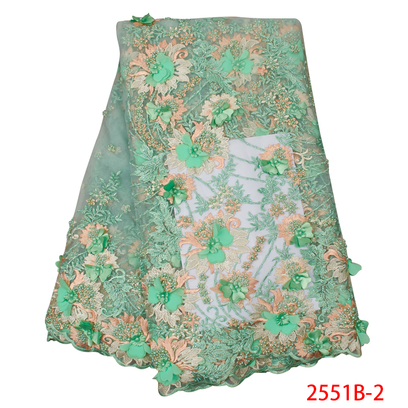 Nigerian French Lace Fabric 3D Flowers Embroidered Tulle Lace Fabrics With Beads African Applique Laces Fabric KS2551B-2