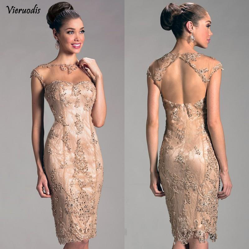 2019 Short Cocktail Dresses For Women Sheath Scoop Cap Sleeves Lace Beaded Hollow Back Knee Length  Mother Gown