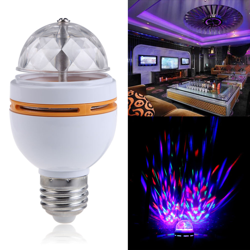 Stage Light AC85-260V 3W E27 Colorful RGB LED Rotating Stage Disco Crystal LED Bulb Lamp Light 120 Degree Rotating Party Light