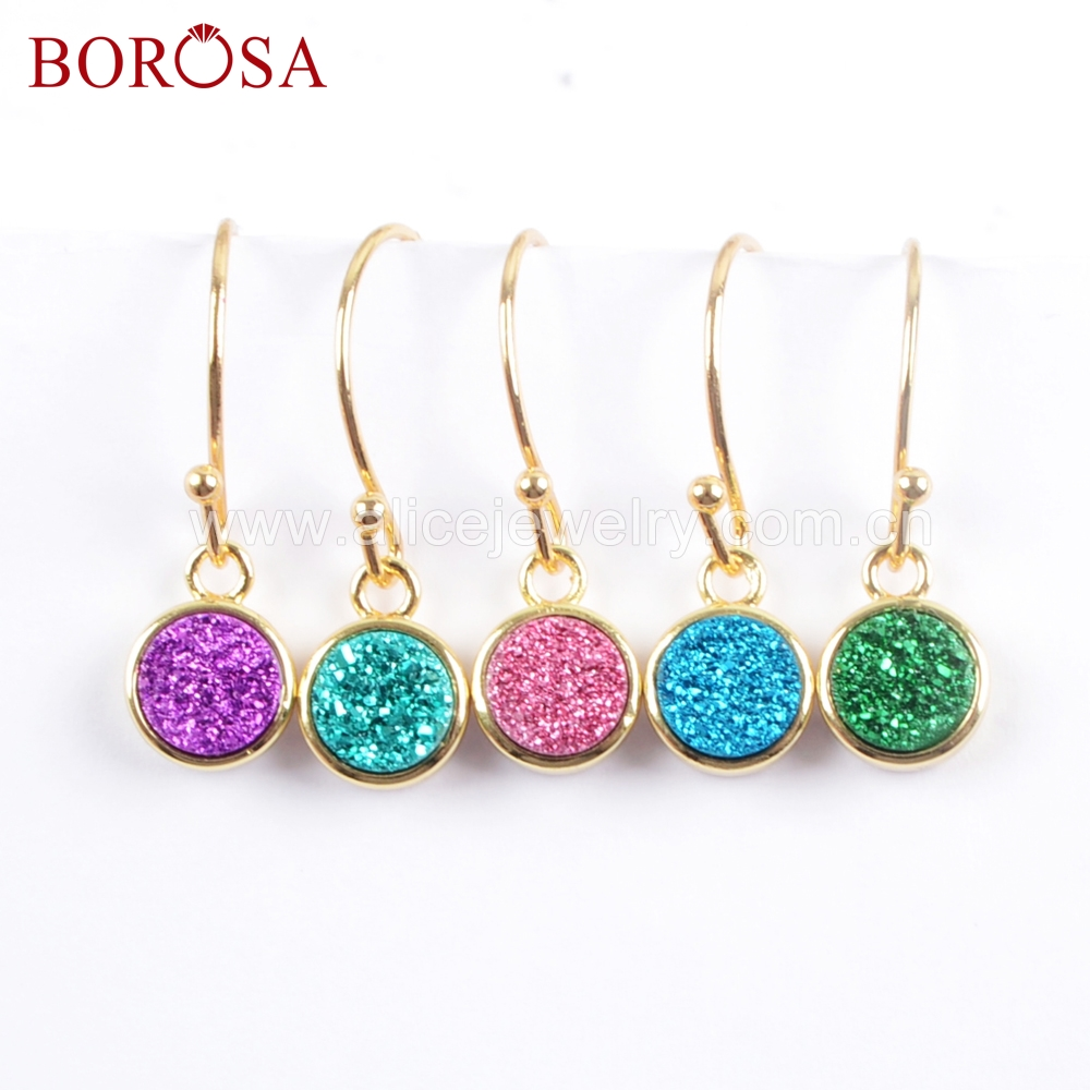 BOROSA 5Pairs Stone Size 9mm Round Natural Agates Titanium Rainbow Druzy Gold Electroplated Bezel Drop Earrings Jewelry ZG0358-E