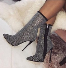 High Quality Bling Crystal Women Ankle Boots Heels Pointed Toe Ladies Dress Shoes Rhinestone Socks