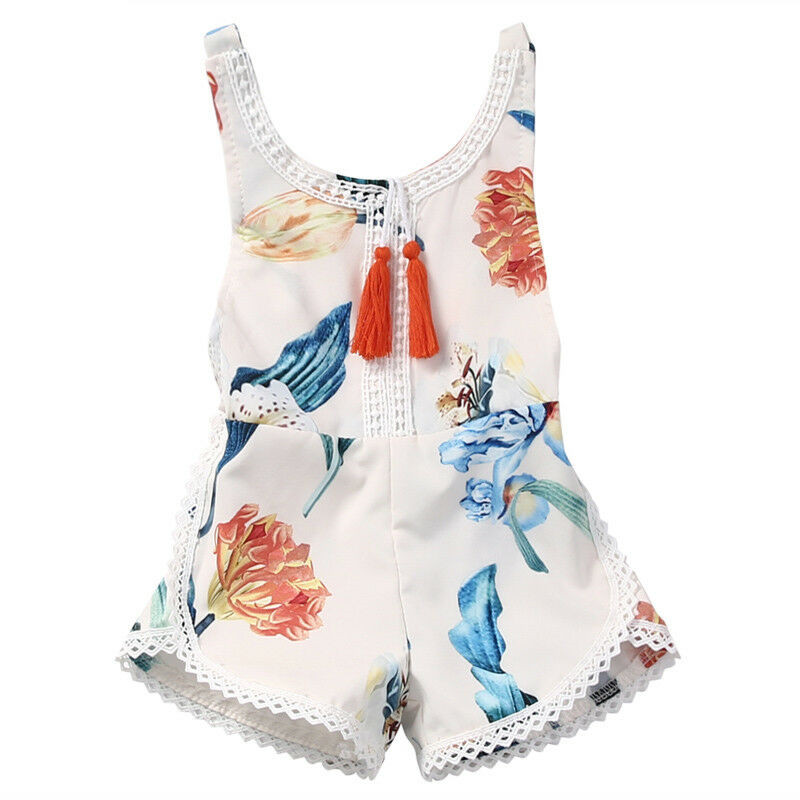 Summer Cute Newborn Infant Baby Girls Romper Sleeveless Floral Open Back Jumpsuit Sunsuit Clothes Outfits