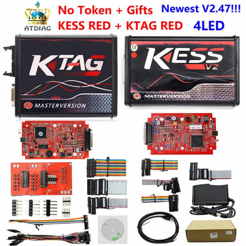 Online Versie Ktag 7.020 SW2.23/2.47 Eu Versie Rode Pcb Kess V5.017 Kess 5.017 SW2.23 V2 Volledig Protocollen Geen token Limited