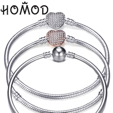 HOMOD High Quality 3mm Retro Charm Bracelet Silver Plated Snake Chain For Original Brand Bracelets Women Jewelry 17-21cm