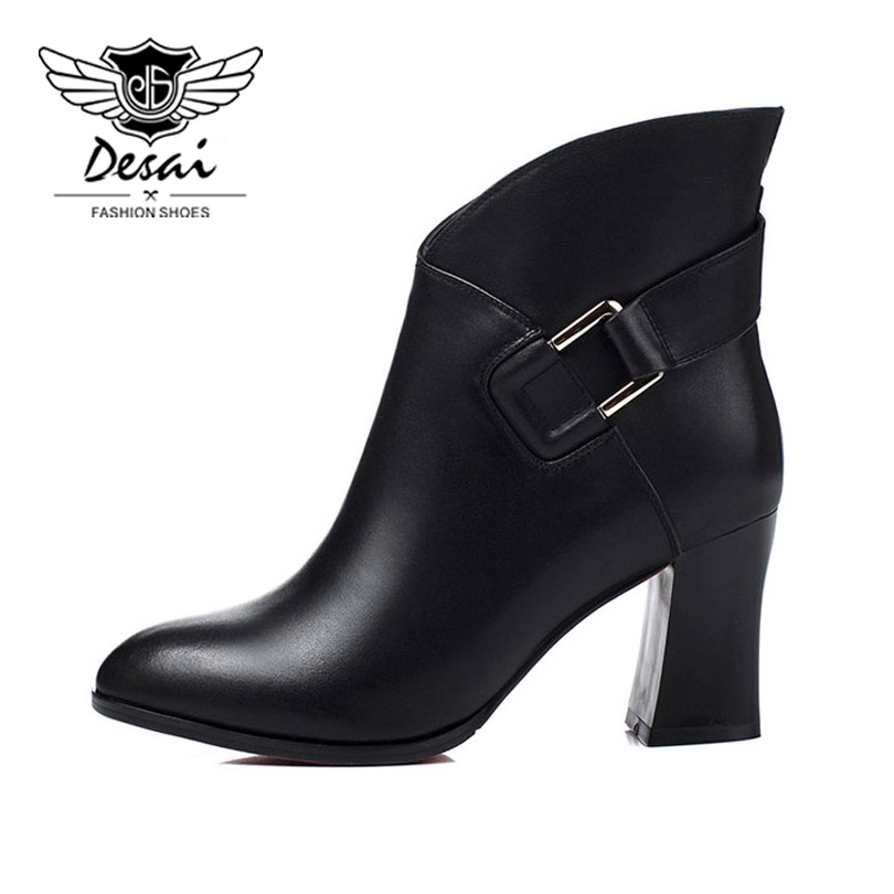 DESAI Genuine Leather Women Shoes New Winter High Fashion Shoes for Europe and the United States Women's boots Wedding Shoes new hot yin yoga book popular in europe and the united states high end yoga class tutorial essential book for fashion women