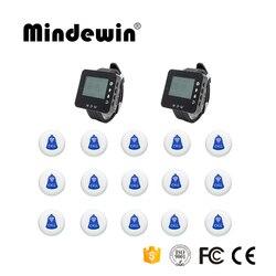 Mindewin Restaurante Ou Café Loja de 15pcs Pagers Garçom Chamada Botão + 2pcs LED Relógio Da Tela de Serviço de Garçom Receptor sistema de Pager