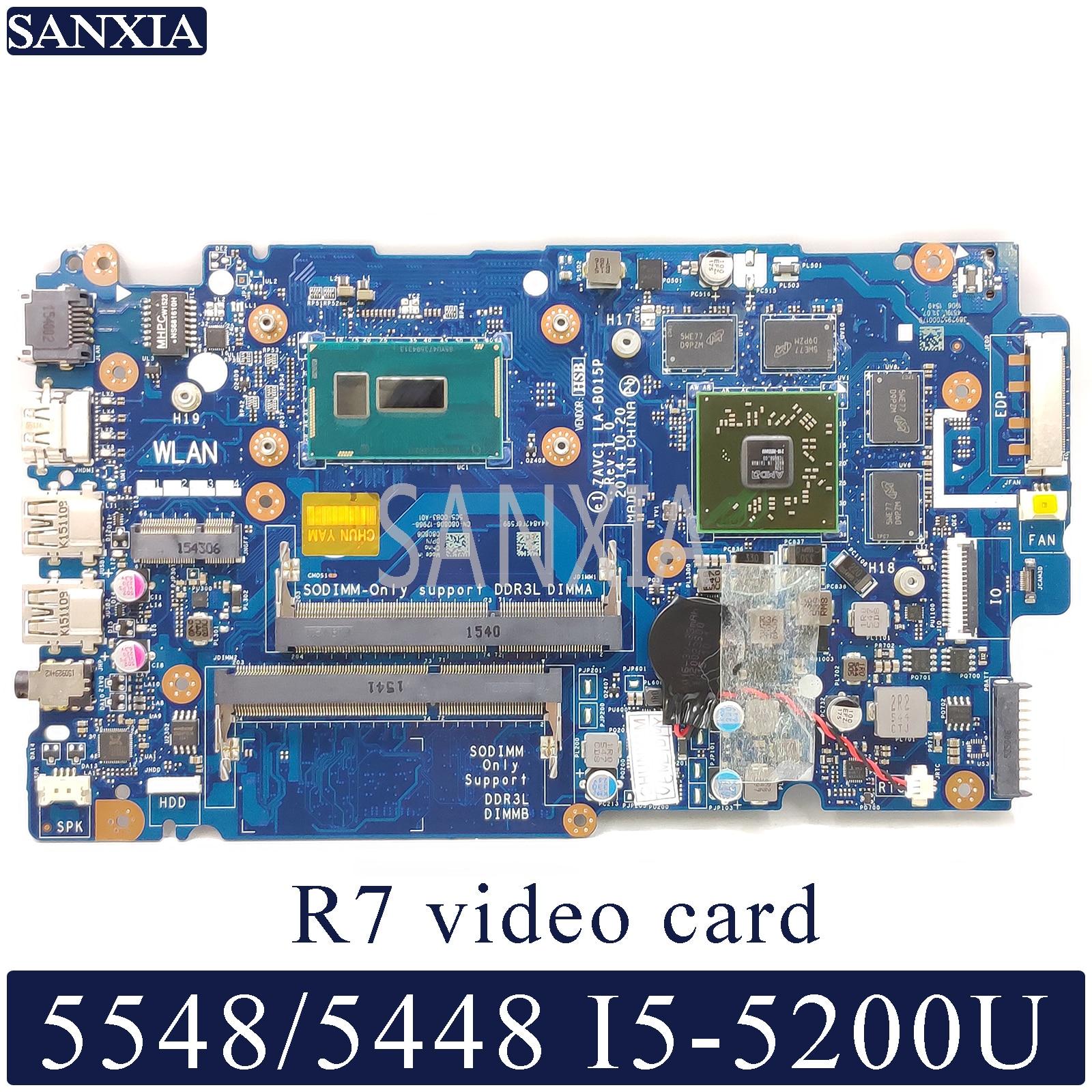 KEFU LA B015P Laptop motherboard for Dell Inspiron 5548 5448 original mainboard I5 5200U R7 video