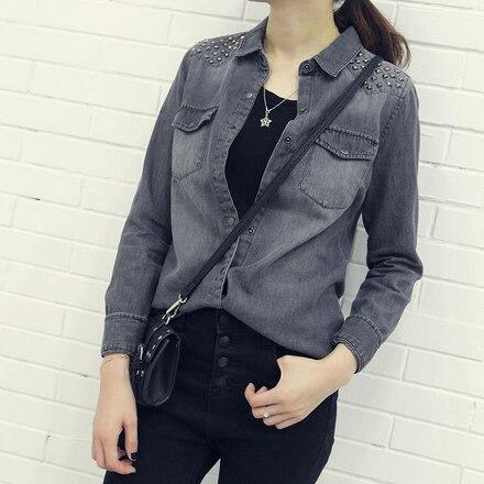 Women Grey Blouses Solid Rivet Shirts Full Sleeve Turn Down Collar Shirt Female Casual Blusas Tops