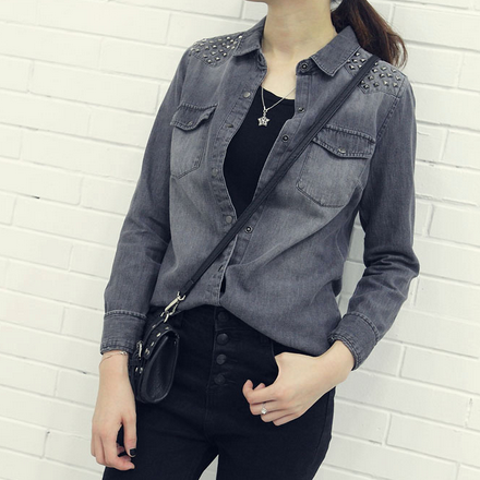 Women Grey Blouses Solid Rivet Shirts Full Sleeve Turn Down Collar Shirt Female Casual Blusas Tops