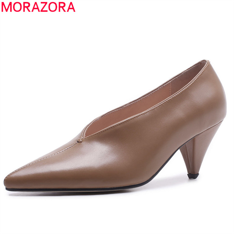 MORAZORA 2020 pointed toe genuine leather shoes shallow simple pumps women shoes solid colors spring summer